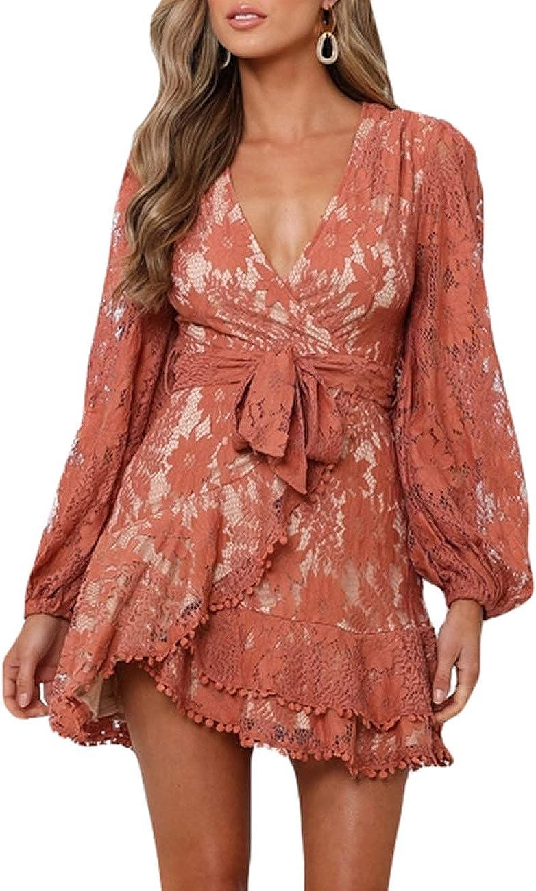 Women's Floral Flower Tulsa Mall Lace Faux Wrap Long Neck V Dresses La Mini 2021new shipping free
