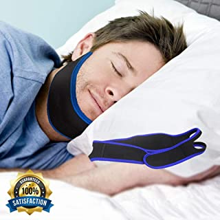 Anti Snoring Chin Strap - Snore Solution Reduction Sleep Aids - Adjustable Snore Devices for Men and Women (Blue)