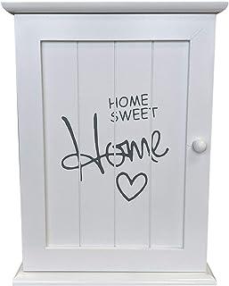 Coffret à clés Coffret à clés 'Home Sweet Home' 22x29x8cm avec 6 crochets pour clavier - blanc