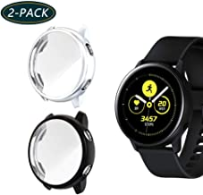 Jvchengxi Funda Protectora para Galaxy Watch Active, Cubierta Protectora de Marco Resistente a los rasguños TPU Protector de Pantalla de Cobertura Total para Galaxy Watch Active 40mm(Negro/Plata)