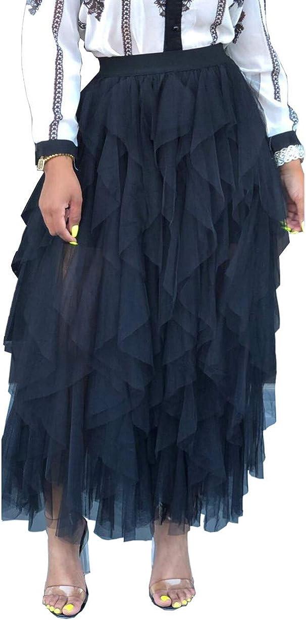 Yeshire Women's Sheer Tutu Skirt Tulle Mesh Ruffled Tiered Layered Midi Skirts
