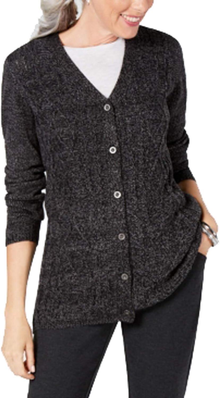 Karen Scott Long-Sleeve V-Neck Cardigan