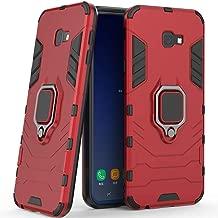 متوافق مع جراب Galaxy J4+ (2018) ، حامل معدني على شكل حلقة صلب مقاوم للصدمات (يعمل مع حامل السيارة المغناطيسي) غطاء متين بطبقة مزدوجة لهاتف Samsung Galaxy J4 Plus احمر