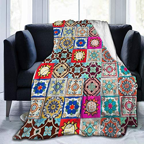 YOLIKA Throw Blanket Lightweight Ultra-Soft,Ceramic Tiless From Portugal,Living Room/Bedroom/Sofa Couch Bed Flannel 4 Seasons Quilt,60' x 80'