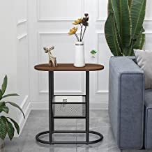 Wooden Side Table,2-Tier End Accent Table with Storage Shelf, Modern Furniture Bedside Table for Living Room Bedroom Balco...