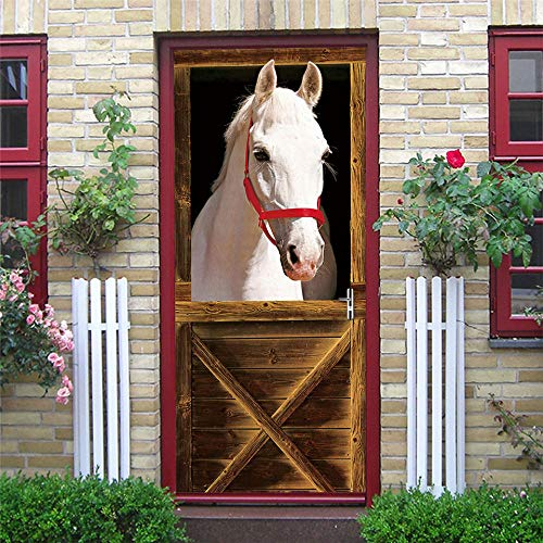 Deurstickers, schuifdeur, papier, paard, knutselen, zelfklevend, voor deuren, waterdicht, afneembaar, PVC, wandafbeelding, 77 x 200 cm