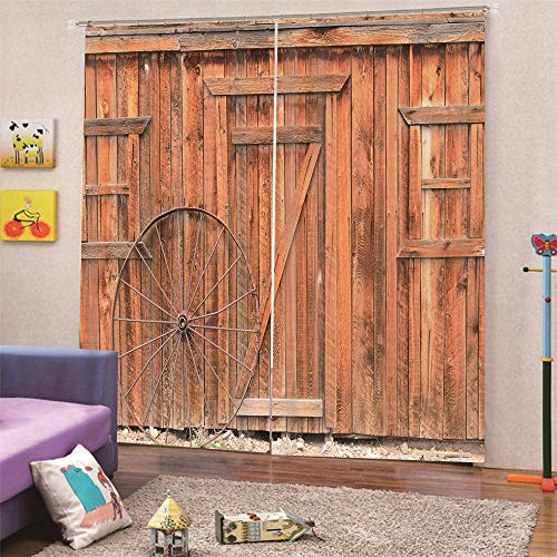 Cortinas Blackout Ventanas Opacas Termicas Aislantes para salón, Cocina habitación y Dormitorio,Tablero de Madera roja 150x166 cm (Ancho x Alto)