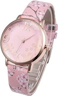 Top Plaza Womens Girls Fashion Leather Analog Quartz Wrist Watch Elegant Beautiful Arabic Numerals Casual Flower Dress Watches