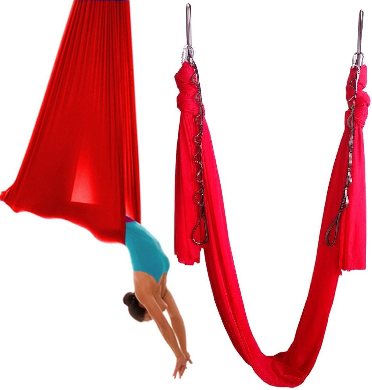 (5meter, Red)  Wellsem 5.5 Yards(5m set) Elastic Pilates Yoga Swing Aerial Yoga Hammock with Carabiner & daisy Chain