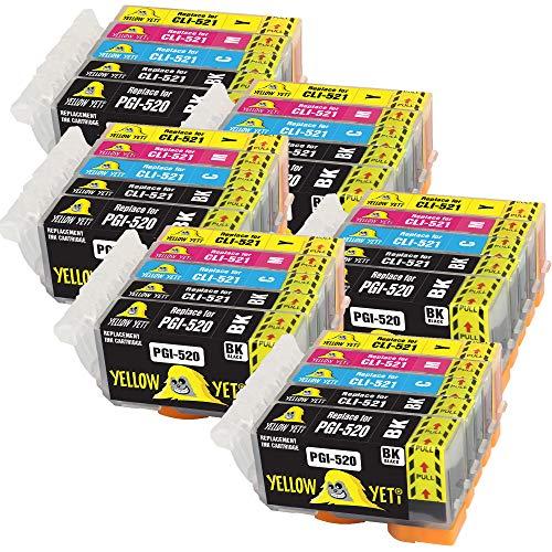 Yellow Yeti Reemplazo para Canon PGI-520 CLI-521 | 30 Cartuchos de Tinta compatibles con Canon Pixma MP560 MP640 MP630 MP620 iP4600 iP4700 iP3600 MP540 MP990 MP980 MP550 MX870 MX860