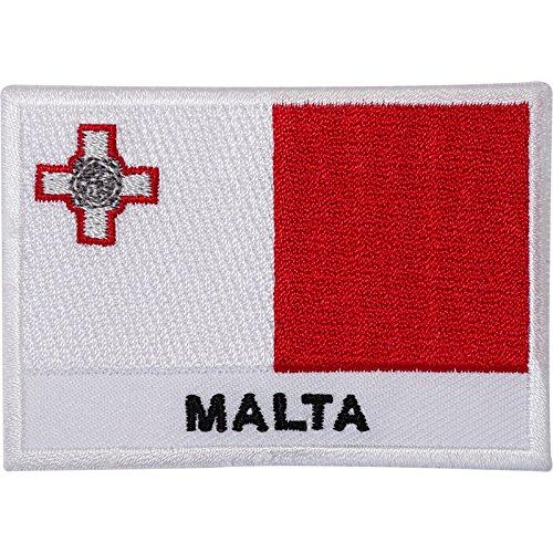 Malta-Flagge, bestickt, zum Aufbügeln/Aufnähen, George-Kreuz, Malteser-Stickerei