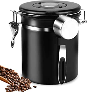 Coffee-Canister, Airtights Stainless Steel Coffee Storage-Container with Date-Tracker and Measuring-Scoop 16oz Kitchen Foo...