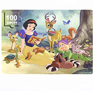 Disney Princess Puzzles in a Metal Box 100 Pieces Jigsaw Puzzles for Kids Ages 4-8 Mini Puzzles for Girls and Boys for Children Learning Educational Puzzles (Snow White)