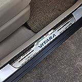 QINMH 4 Stück Autotürschwellenschutz Für Suzuki Vitara 2015-2020, Trim Scuff Pedal Threshold Cover Schutz Trim Zubehör, Edelstahl, Rot, Blau