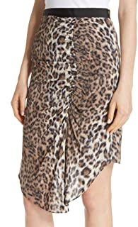 Ornica Leopard Print Asymmetrical Draped Knee Length Ruched Skirt