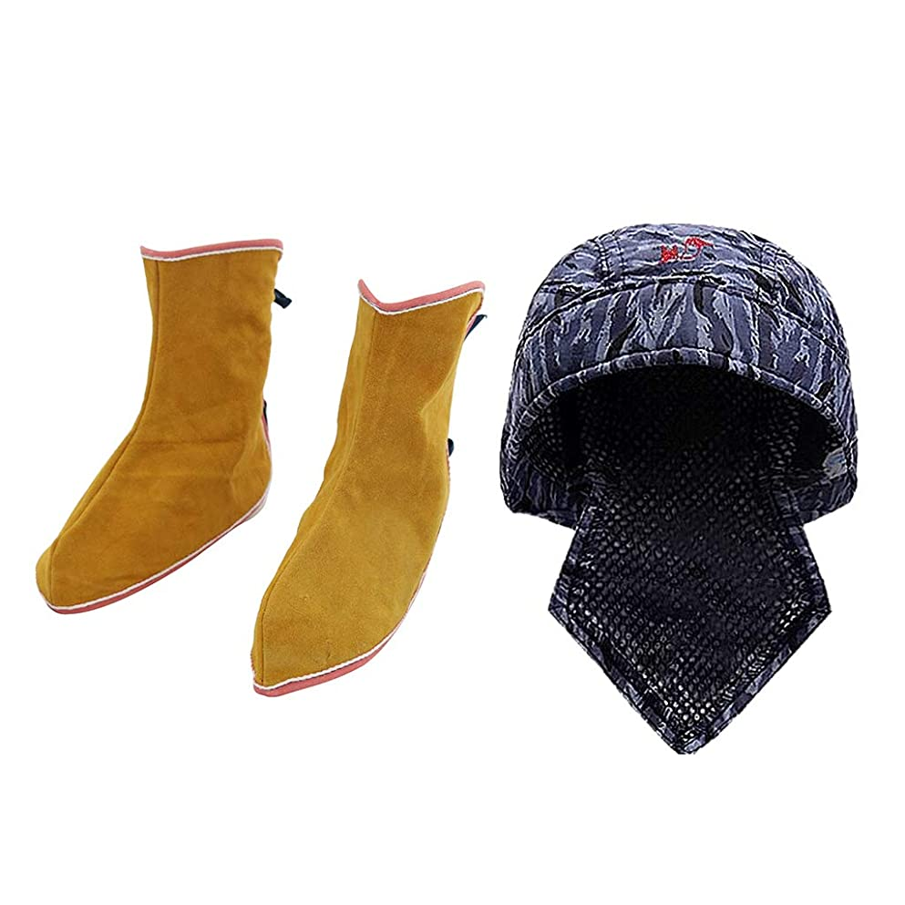 推進影響バブル溶接保護 スパッツ 靴 溶接キャップ 帽子 人工レザー 断熱 防滑性