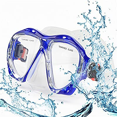 Snorkel Diving Mask, Panoramic HD Scuba Swim Mask, Tempered Anti-Fog Lens Glasses Snorkel Goggles, Scuba Dive Snorkel Mask with Silicone Skirt Strap for Dry Snorkeling, Swimming (Clear Blue)