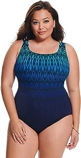 Longitude Women's Plus Size Swimwear Tahoe Ombre Triple X-Back Tank Tummy Control Long Torso One Piece Swimsuit