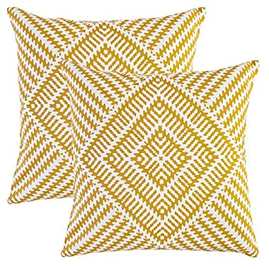 TreeWool, (2 Pack) Throw Pillow Covers Kaleidoscope Accent Decorative Pillowcases Toss Pillow Cushion Shams Slips Covers for Sofa Couch (16 x 16 Inches / 40 x 40 cm; Mustard), White Background