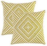 TreeWool Dekorativer Kissenbezug (50 x 50 cm, Senffarben) Kaleidoskop Design 100% Baumwolle (2er...
