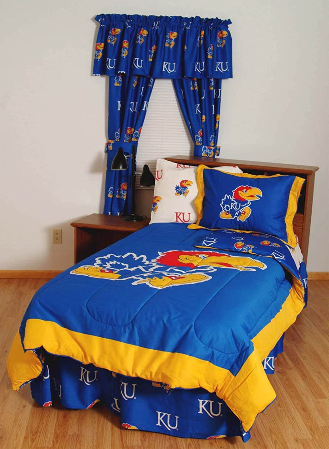 Kansas Jayhawks Bed in a Bag Queen  With White Sheets