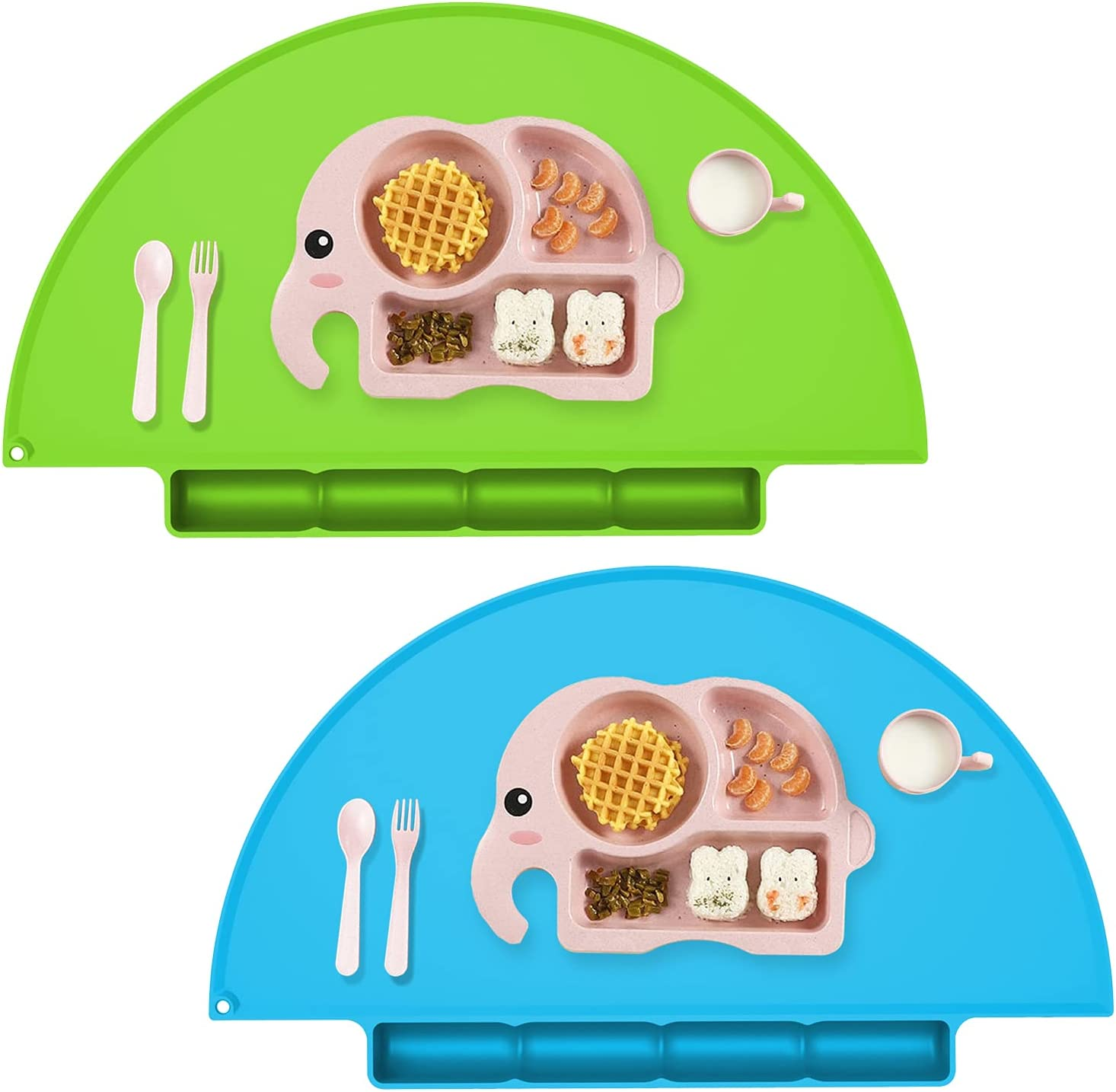 Kids Placemat with Food Catching Tray, Strong Suction Baby Placemats for Kids Toddler Children Reusable Non-Slip Table Mats, Baby Food Mats for Restaurant - 2Pack - Blue/Green