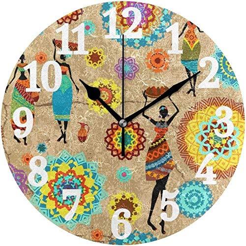 NIUMM Reloj De Pared Reloj De Pared Redondo Mujer Africana Mandala Home Art Watch para Oficina En Casa