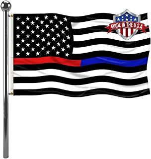 Best Thin Red Blue Line Police Firemen Flag 3x5 ft- Canvas Head Firefighter Cop US Flags Banners Outdoor- Lightweight Polyester Red Blue Stripe American Flags with 2 Brass Grommets Review