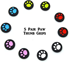 5 Pairs Paw Silicone Thumb Grips Protective Cap 5 Colors Compatible for PS4, PS3, PS2 Xbox One, Wii U Pro and Switch Pro C...