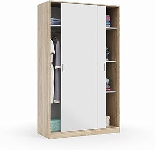 Habitdesign MAX120F - Armario 2 Puertas Correderas y Estantes para Dormitorio o HabitacionAcabado en Blanco Artik y Robl...