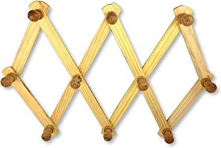 Mr. キッチンアコーディアン壁掛けハンガー – 拡張ブナ材コーヒーマグ 壁ラック – 木製カップ 帽子またはコートマウント – 完璧な木製マグホルダー
