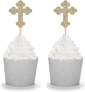 24 Counts Gold Glitter Cross Cupcake Toppers Christian Party Religious Comunication Decorations
