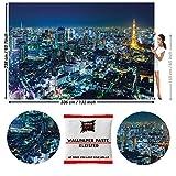 GREAT ART Fototapete Tokyo Skyline bei Nacht 336 x 238 cm - Wandtapete 8 Teile Tapete inklusive Kleister