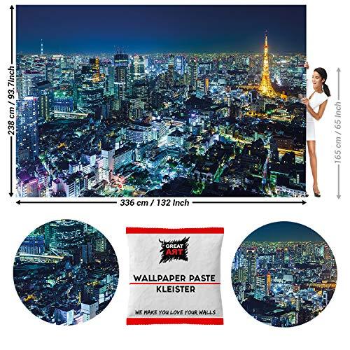Great Art fotobehang Tokyo Skyline 's nachts 336 x 238 cm - 8 Teile + Kleister Tokio Bei Nacht