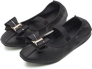 zaragfushfd Girls Foldable Portable Flexable Outsole Roll up Ballet Flat Shoes