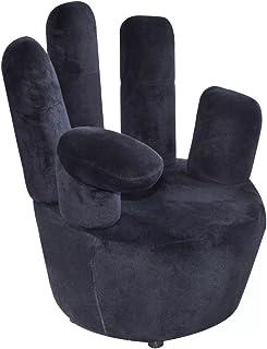 vidaXL Sillón Negro de Terciopelo en Forma de Mano Asiento Silla Mueble de casa