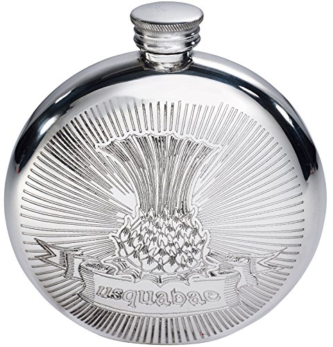 I Luv LTD 6oz Usquabae Thistle Round Flask Gaelic for Whisky Water of Life Ideal Unique Gift