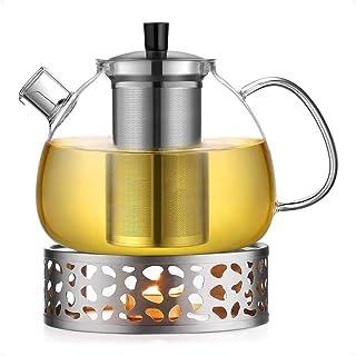 ecooe Oryginalny dzbanek do herbaty ze szkła borokrzemowego z podgrzewaczem ze stali nierdzewnej 18/10 i wyjmowanym sitkiem
