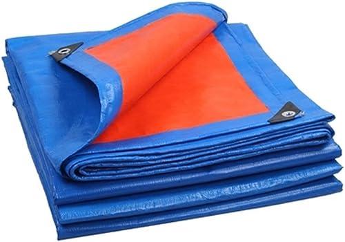 WSGZH Toile Imperméable à l'eau Et à l'huile Toile Imperméable à l'eau Et à l'huile Ultra-légère Tricycle Pare-Brise étanche en Bache, Epaisseur 0.35mm, 180g   M2, Bleu + Orange, 12 Options De Taille
