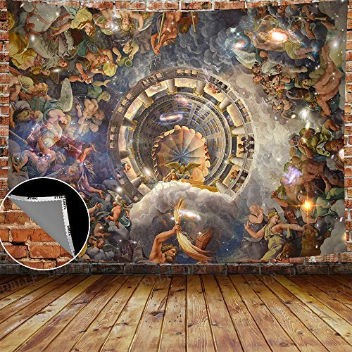 DBLLF European Fairy Tapestry Greek Myth Wall Tapestry Trompe Loeil Ceiling from The Sala Tapestry,Queen Size 80'x 60' Trippy Art Tapestries,for Living Room Dorm Bedroom Home Decor GTLHDB166