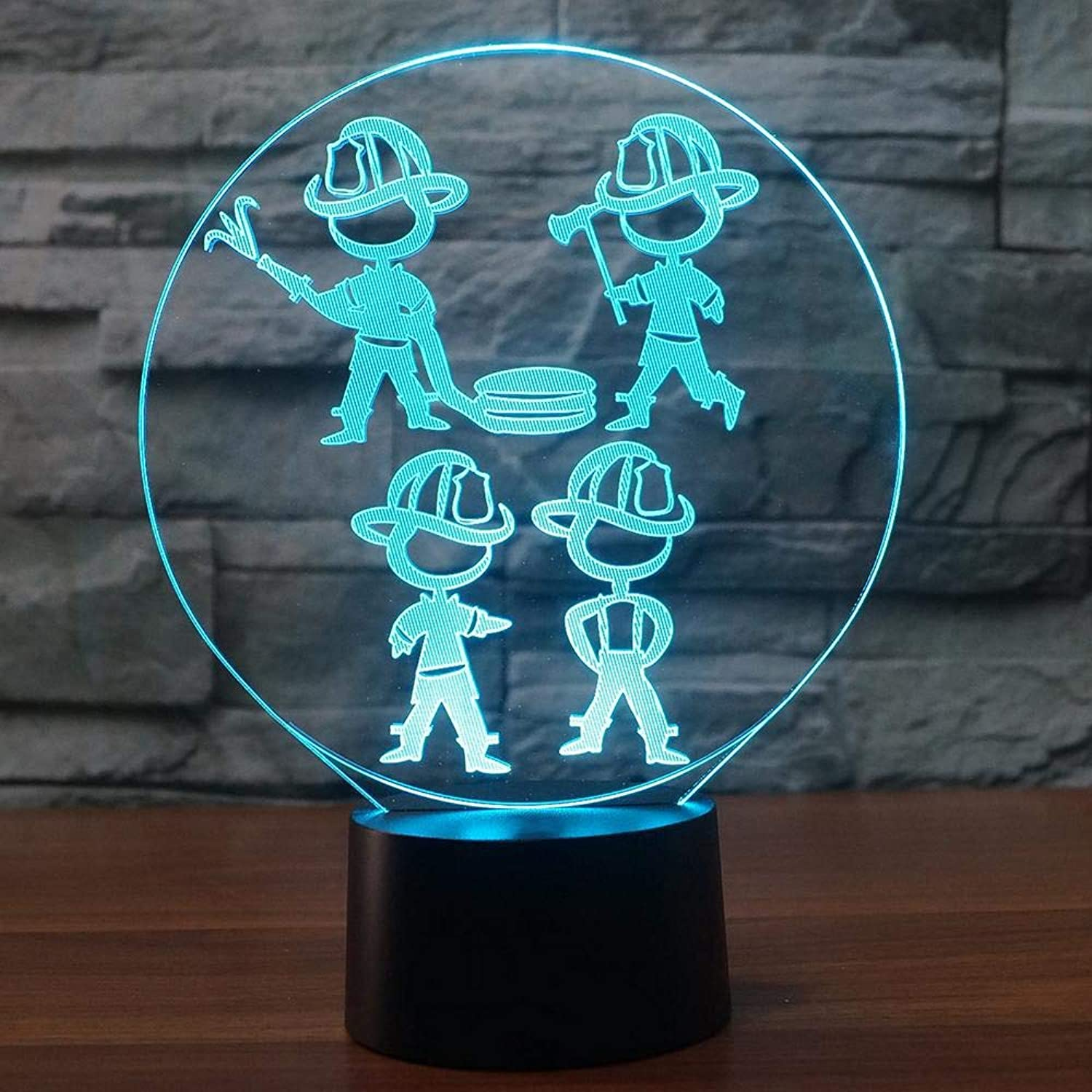 Fsewfs 7 colors Change 3D Led Firemen Modelling Night Lights USB Kids Touch Button Desk Table Lamp for Living Room Home Decor
