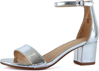 Guilty Shoes Guilty Heart | Womens Ankle Strap Single Band Sandal | Low Chunky Block Comfortable Office Heeled Sandals