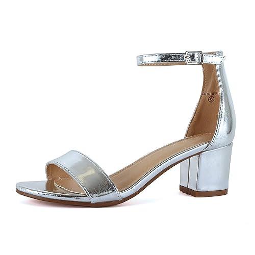 f4ddd4ad3 Silver Block Heels  Amazon.com