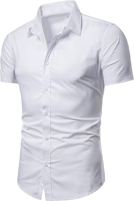 LOCALMODE Men's Regular Fit Cotton Business Casual Shirt Solid Short Sleeve Button Down Dress Shirts