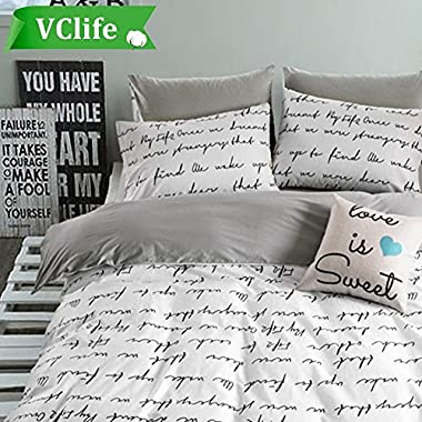 VClife Duvet Cover Queen Full Bedding Duvet Cover Sets-1 Duvet Cover 2 Pillowcases-Reversible Love Letter White Grey Pattern, Lightweight Comfortable Durable for Bedroom Guest Room, Chic Bedding Sets