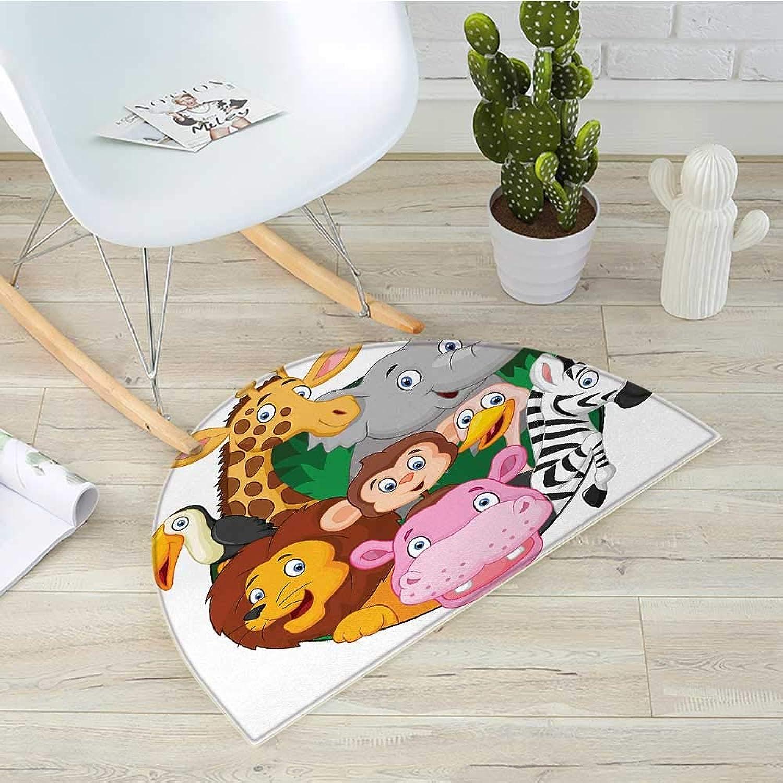 Cartoon Semicircle Doormat Exotic Safari Animals All Together Comic Creature with Zebra and Elephant Friend Sketch Halfmoon doormats H 39.3  xD 59  Multi