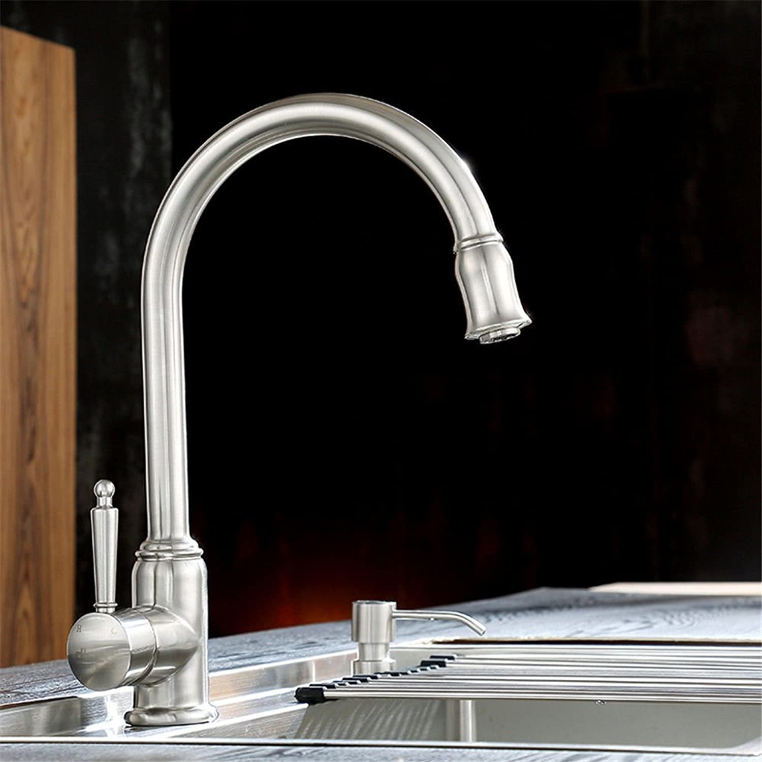 Lalaky Taps Faucet Kitchen Mixer Sink Waterfall Bathroom Mixer Basin Mixer Tap for Kitchen Bathroom and Washroom Hot and Cold 304 Stainless Steel Wire Drawing Universal redation