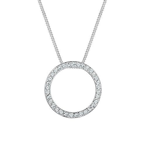 Elli Women s 925 Sterling Silver Swarovski Crystals Circle Geo Necklace 8efb36a0a