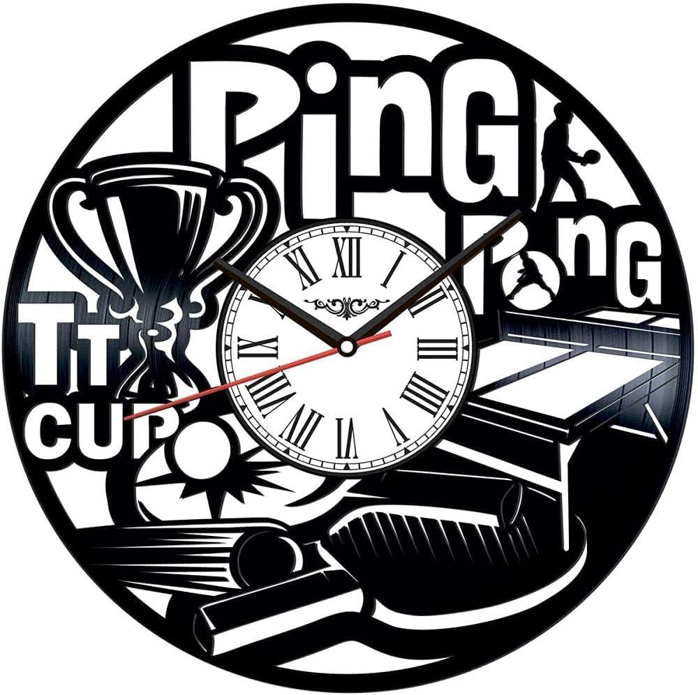 Reloj de Pared de Vinilo de Ping Pong, Reloj de Vinilo, Arte de Pared, Arte Negro Hecho a Mano, Idea hogar, 12 Pulgadas