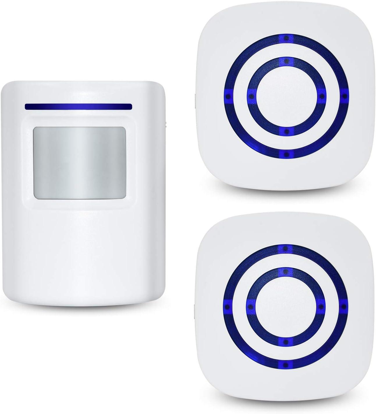 Tengcong Door Chime,Wireless Business Door Motion Sensor Detector Smart Visitor doorbell Home Security Driveway Alarm with 1 Sensor and 2 Receiver,38 Chime Tunes - LED Indicators (1 Sensor + 2 Receiv)
